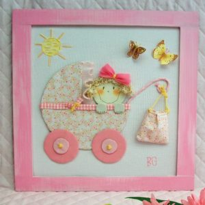 597, carricoche rosa con mariposas y bolsa